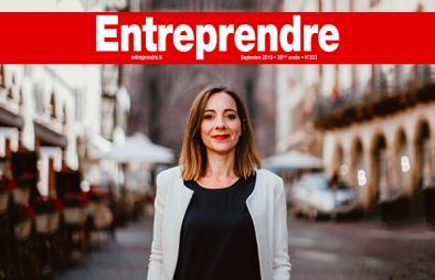 Portrait de la Dirigeante de FACILIS, Eve Pauvert, qui est paru dans le magazine Entreprendre, édition Septembre 2018.. Le bandeau rouge du magazine ENTREPRENDRE est placé en haut de la photo.